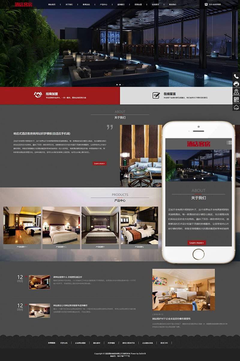 响应式酒店客房类网站织梦模板(自适应手机端)+PC+wap+利于SEO优化