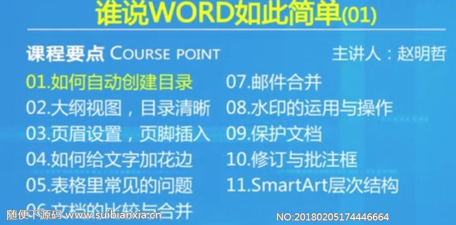 谁说WORD如此简单视频教程(11集) 完整版