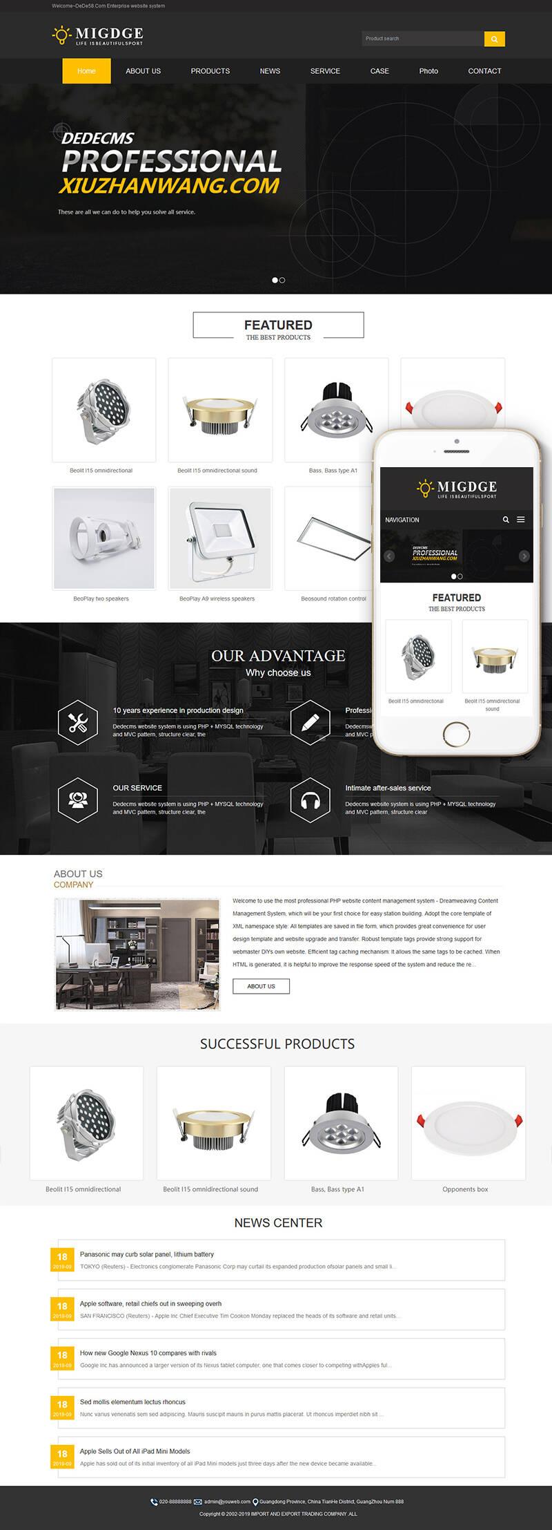 织梦dedecms模板 自响应式灯具灯饰英文外贸类网站织梦模板(自适应手机端)+PC+wap+利于SEO优化