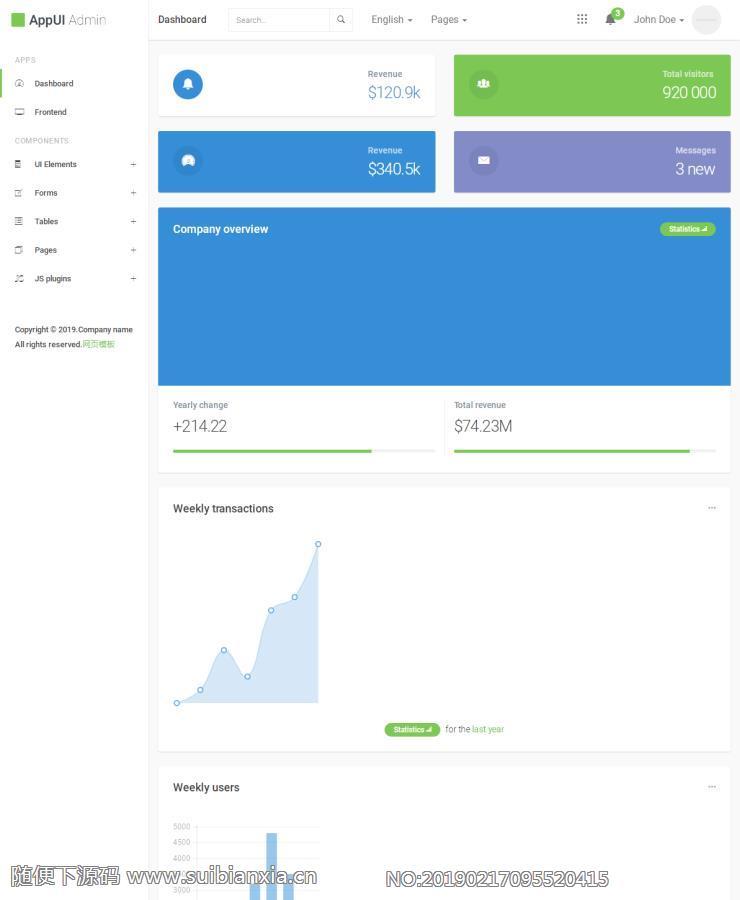 基于Bootstrap3制作的AppUI后台管理系统admin后台管理模板