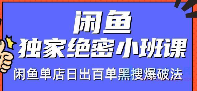 闲鱼店群独家绝密小班课闲鱼单店日出百单黑搜爆破法视频教程
